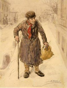 МАКОВСКИЙ ВЛАДИМИР ЕГОРОВИЧ (1846-1920).Плюшкин (Иллюстрация к «Мертвым душам» Н.В. Гоголя). 1900