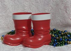 2 Red Plastic Santa's Boots RTC IND Chicago Vintage Christmas Decorations, Containers