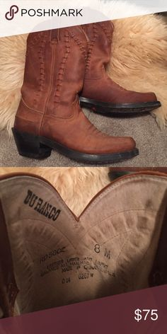 SALE! Ladies Durango Leather Cowboy Boots Brown genuine leather Durango boots in size 8M. Fit me well and I wear a size 8.5 depending on the shoe. Lightly worn and in great condition. Some wear on toes but can most likely blend in with some polish. Durango Shoes