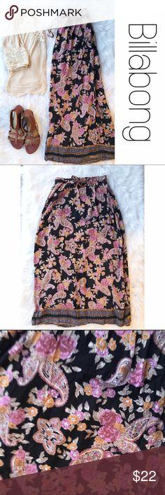 "Billabong Boho Floral Maxi Skirt S Long, pretty.  Elastic and tie waist with tiny bells.  38"" from waist to hem. Size small. B6 Billabong Skirts Maxi"