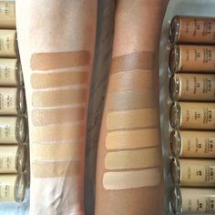 Looking for your perfect shade? We're swatching 14 shades of Conceal + Perfect 2-in-1 Foundation + Concealer. Shown: Left Arm Shades B-T 1-7 Right Arm Shades B-T 8-14