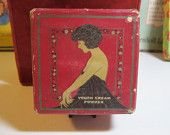Art Deco face powder 1920's Edna Wallace Hopper silent screen and stage star image on box youth cream powder