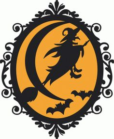 Silhouette Design Store: halloween witch frame