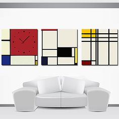 Modern Style Scenic Wall Clock in Canvas 3pcs K0152 – USD $ 69.99