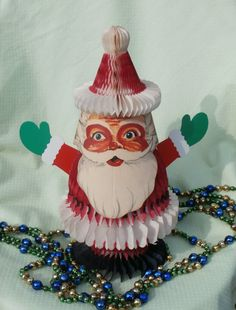 Vintage Santa Claus Honeycomb Tissue Christmas Centerpiece, 11 Inches Tall
