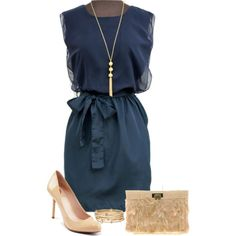"""Navy, Nude, and Gold"" by midwestdreamer on Polyvore"