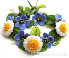 Jopanda Lampwork Beads Handmade SRA Bellis Forget Me not Bouquet 24 | eBay