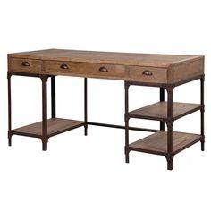 Rustic Pine 3 Drawer Open Shelf Computer Desk