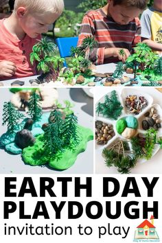 Earth Day Themed Playdough Invitation to Play - Stay At Home Educator Earth Day Activities, Outdoor Activities For Kids, Activities To Do, Therapy Activities, Homemade Bubble Recipe, Homemade Bubbles, Earth Day Projects, Earth Day Crafts, Play And Stay