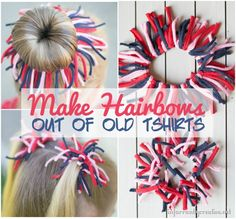 DIY Crafts | How to make hair bows out of old t-shirts ~ I love how these look like firecrackers for Fourth of July!
