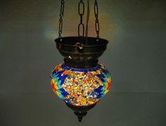 Rainbow lantern mosaic hanging lamp glass chandelier light lampe mosaiqe hng 71 #Handmade #Moroccan