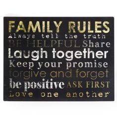 Family Rules Tin Wall Plaque | Kirkland's