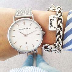 BuyAbbott Lyon Unisex Kensington Date Mesh Bracelet Strap Watch, Silver/White Online at johnlewis.com