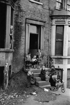 "The kinda 'out-of-bounds' playground we all loved as kids, in't 50's!..I wonder if anyone recognises him/her self, here..Leeds 1954..By Marc Riboud..BTW, can't help thinking ""meerkats"" everytime I look at this pic..*chuckles to himself*"
