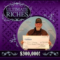 Bob Strange of #MountAyr purchased an Ultimate Riches scratch ticket Friday night at his local Casey's General Store on W. South St. while picking up his pizza. He scratched his ticket at home and won the fifth of eight top prizes of $300,000 available in the game! Congrats! #WooHooForYou