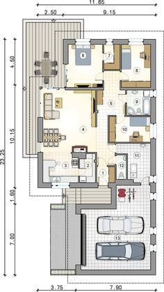 Parterowy dom na działkę z wjazdem od południa - Studio Atrium Small Modern House Plans, My House Plans, House Layout Plans, House Layouts, House Floor Plans, Minimalist House Design, Modern House Design, Modern Bungalow House, Architectural House Plans