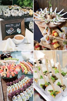 Asian Stations and Sushi Bar wedding food |See more great wedding food ideas on www.onefabday.com