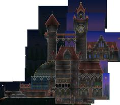Clock tower castle - I like the shapes used here.