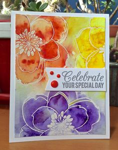 Mondo Magnolia: Essentials by Ellen. watercolor, emboss, sprinkled Brushos over each flower/spritzed, wet brush to fill in spots. Get Carded by Liz: Card Making Inspiration, Making Ideas, Card Making Techniques, Brusho Techniques, Alcohol Ink Crafts, Karten Diy, Embossed Cards, The Draw, Pretty Cards