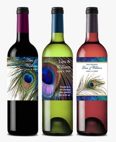 personalized PEACOCK wedding wine bottle labels by shadow090109, $0.99