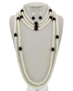 Gold Tone / Black Acrylic & Clear Rhinestone & Cream Synthetic Pearl / Lead&nickel Compliant / Fish Hook (earrings) / Multi Row / Necklace & Earring Set