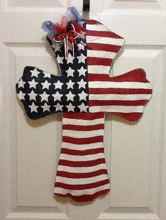 Burlap Patriotic Flag Cross Door Hanger by ILoveItDesigns on Etsy, $35.00
