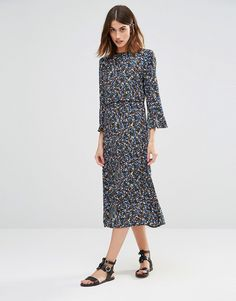 Image 4 of Warehouse Ditsy Floral Midi Dress