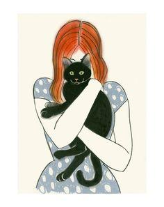 Arte de gato  Odette y Bruno 83 X 117 grabado  4 por matouenpeluche