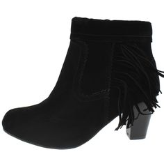 ADALIZ3 BLACK DETAILED STITCHING SIDE FRINGE STACKED CHUNKY HEEL BOOT ONLY $15.88