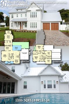 Architectural Designs Modern Farmhouse Plan 82068KA gives you 4 beds, 3.5 baths and over 3,100 sq. ft. of heated living space. Ready when you are. Where do YOU want to build? #82068KA #adhouseplans #architecturaldesigns #houseplan #architecture #newhome #newconstruction #newhouse #homedesign #dreamhome #dreamhouse #homeplan #architecture #architect #housegoals #Modernfarmhouse #Farmhousestyle #farmhouse