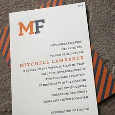 Trenton monogram + letterpress Bar Mitzvah invitations from Smock