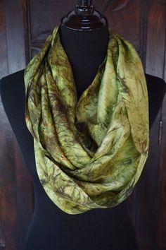 Silk Scarf, Circle Scarf, Hand Dyed, Silk Habotai by JBroadwayCreations on Etsy
