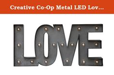 Creative Co-Op Metal LED Love Lamp with Timer. At Creative Co-Op, passion is at the heart of all we do - passion for product, passion for quality, and passion for customer success. It is this passion that grew a company founded only 12 years ago into the dynamic, trend-setter that it is today. This passion ensures we will continue to lead the industry for years to come. At our core, we live and breathe product. Our design team travels the world for inspiration, taking the best elements of...