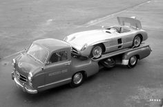 The 1955 Mercedes-Benz Renntransporter with a Mercedes-Benz 300 SLR equipped with the air brake used only during the tragic LeMans 1955 race.  Follow http://thevintagologist.tumblr.com/: more than 10.000 posts of vintage lifestyle, design, fashion, art, cars, architecture, music and stuffs