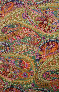 Kaffe Fassett Jungle Paisley #green #orange #pink. Love this colour combo!