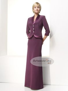 Floor Length Silk Like Satin Sheath Mother of the Bride Dress with Buttoned Jacket--this could be cut off to a shorter length
