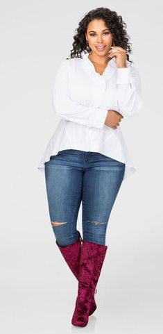 Plus Size Ruffle Trim Hi-Lo Shirt