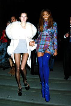 An inside peek at what fashion parties in the '90s looked like: Kate Moss and Naomi Campbell, 1991.