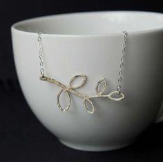 Sterling Silver Hammered Leaf Necklace, Delicate Hammered Leaf Pendant, Hammered Necklace