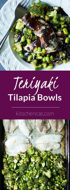 Teriyaki Tilapia Bowls with brown lentils, oven roasted green veggies, and teriyaki sauce are so healthy, use easy to find ingredients, and leaves you satisfied!