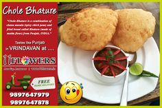 Chole Bhature at 11 FLOWERS Restaurant in Vrindavan.What are you waiting for? or Order it from the comfort of your place with a FREE Home Delivery! Chana Masala, Rooftop, Spicy, Waiting, Delivery, Vegetarian, Restaurant, Pure Products, Meals