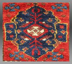 "Kurd Bag Face, NW Persia, 19th C., 1 '4"" x 1' 5"" A classic design type for Kurdish weavings from west Persia. The palette is brilliant and the wool is luscious. ..."