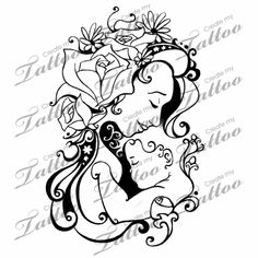 mother and child tattoo designs   On Other Hip Blooming Of The Mother And Child Createmytattoocom