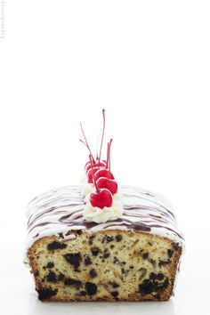 Cherries and Cream Quick Bread by Bakers Royale. I'm all about dressing up simple desserts. And a quick glaze with some maraschino cherries can turn any dessert into a show-stopper. I love this quick bread f