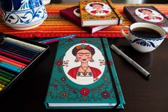 Frida Kahlo with flowers Notebook by MarthaDucoingArt on Etsy