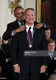 U.S. President Barack Obama presents the Presidential Medal of Freedom to actor and filmmaker Tom Hanks during an East Room ceremony at the White House November 22, 2016 in Washington, DC. The Presidential Medal of Freedom is the highest honor for civilians in the United States of America.