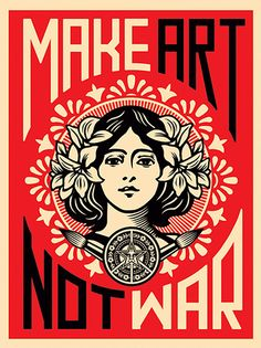 Frank Shepard Fairey Photo - I like the bold colours this poster represents and how obvious the message is. the fact that the girl in the middle gains more attention than the wording will make it more eye catching