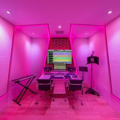Pink Music, Aesthetic Room Decor, Game Room, Cribs, Neon Signs, Studio, Dressing Room, Don't Forget, Room Ideas