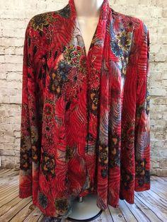 COLDWATER CREEK Draped Red Gold Black Floral Cardigan Top Sweater Women's L #ColdwaterCreek #Cardigan