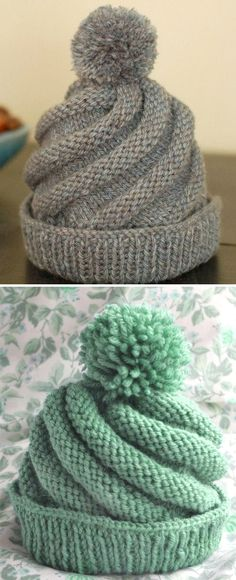 Swirled Ski Cap - Free Pattern - knitting is as easy as 3 knitting . Swirled Ski Cap – Free Pattern – Knitting is as easy as 3 Knitting boils down to three es Beginner Knitting Patterns, Knitting For Beginners, Knitting Stitches, Free Knitting, Knitting Projects, Crochet Projects, Free Crochet, Crochet Patterns, Crochet Designs